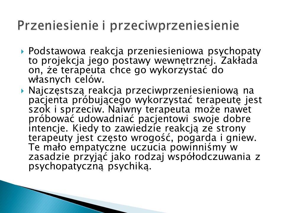 Podstawowa reakcja przeniesieniowa psychopaty to projekcja jego postawy wewnętrznej. Zakłada on, że terapeuta chce go wykorzystać do własnych celów. N