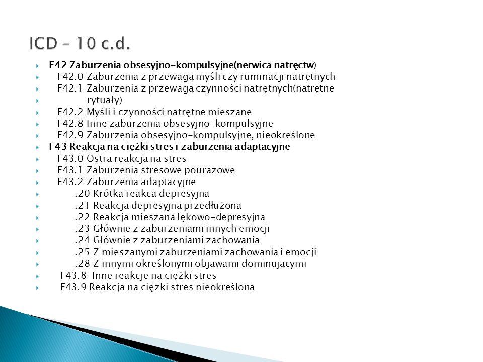 F42 Zaburzenia obsesyjno-kompulsyjne(nerwica natręctw) F42.0 Zaburzenia z przewagą myśli czy ruminacji natrętnych F42.1 Zaburzenia z przewagą czynnośc