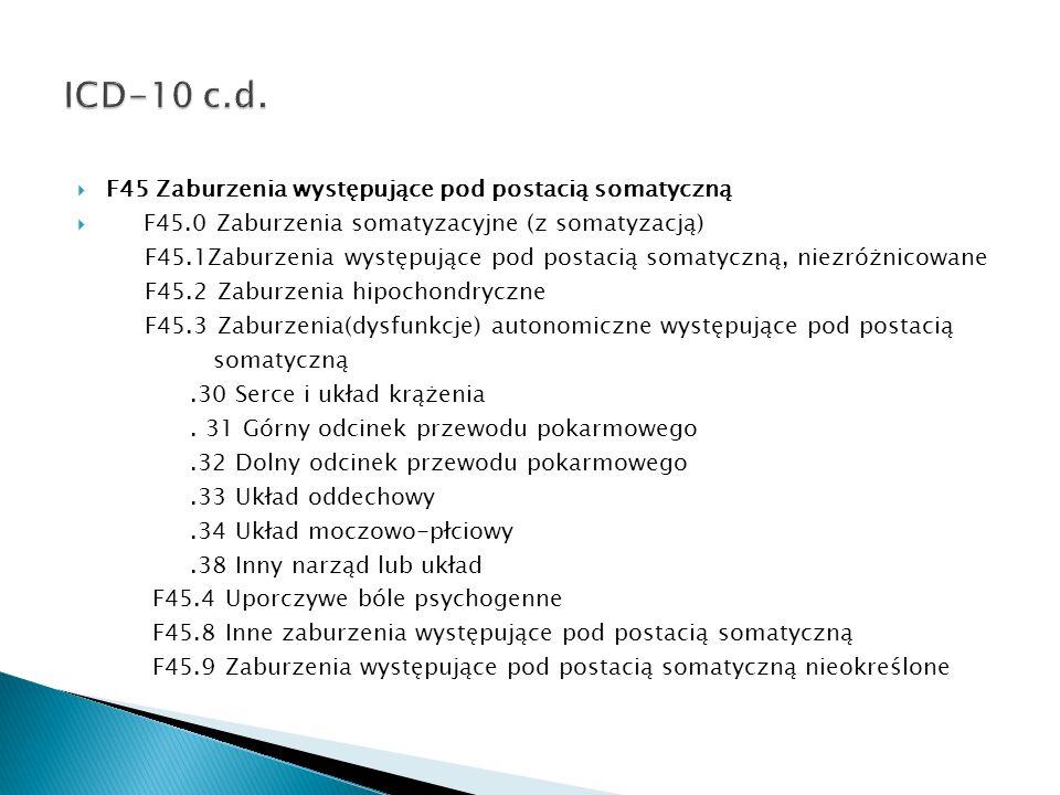 F45 Zaburzenia występujące pod postacią somatyczną F45.0 Zaburzenia somatyzacyjne (z somatyzacją) F45.1Zaburzenia występujące pod postacią somatyczną,