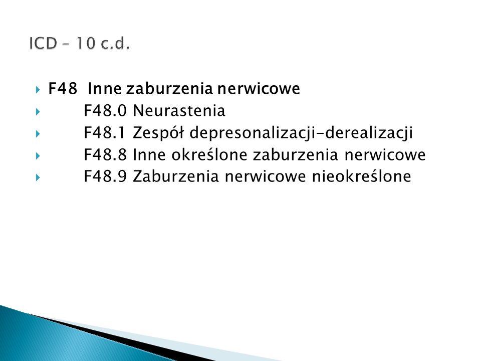 F48 Inne zaburzenia nerwicowe F48.0 Neurastenia F48.1 Zespół depresonalizacji-derealizacji F48.8 Inne określone zaburzenia nerwicowe F48.9 Zaburzenia
