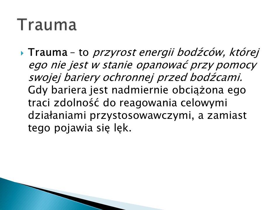 Trauma – to przyrost energii bodźców, której ego nie jest w stanie opanować przy pomocy swojej bariery ochronnej przed bodźcami. Gdy bariera jest nadm