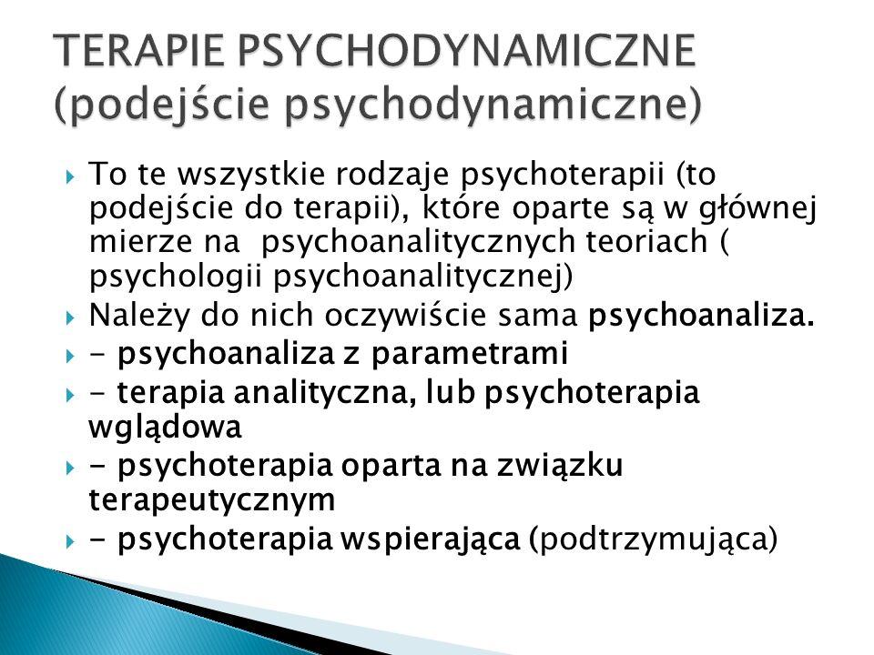 To te wszystkie rodzaje psychoterapii (to podejście do terapii), które oparte są w głównej mierze na psychoanalitycznych teoriach ( psychologii psycho