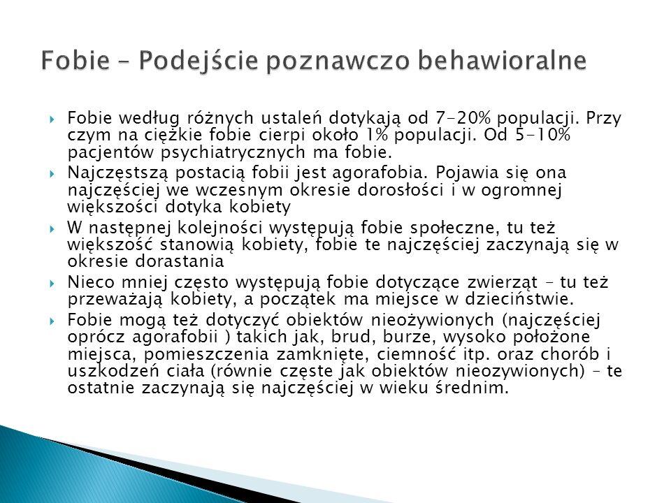 Fobie według różnych ustaleń dotykają od 7-20% populacji. Przy czym na ciężkie fobie cierpi około 1% populacji. Od 5-10% pacjentów psychiatrycznych ma