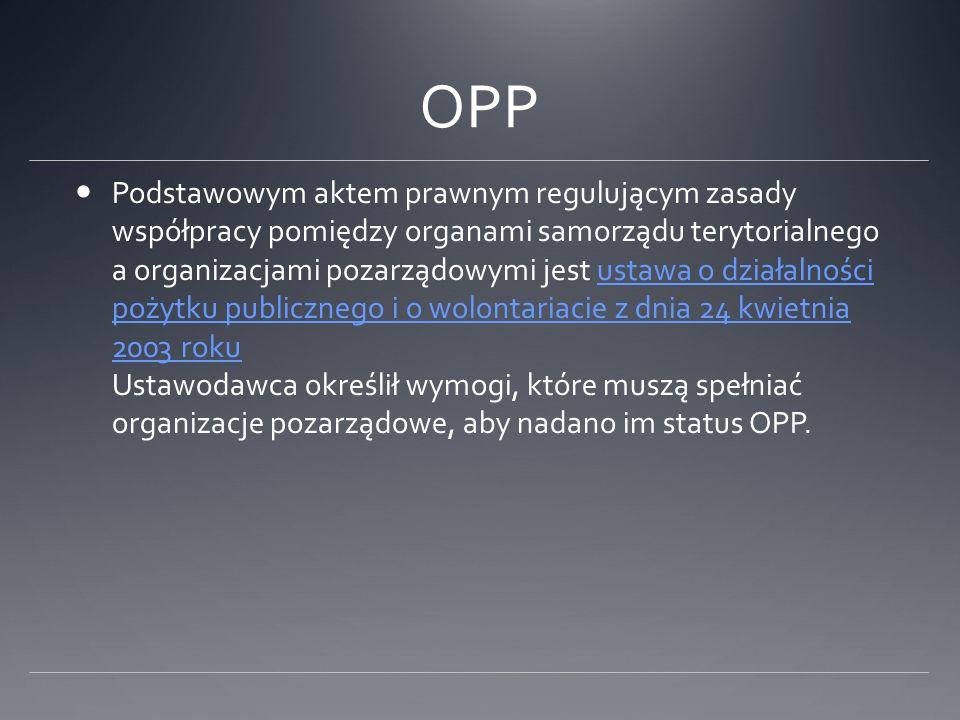 OPP Podstawowym aktem prawnym regulującym zasady współpracy pomiędzy organami samorządu terytorialnego a organizacjami pozarządowymi jest ustawa o dzi