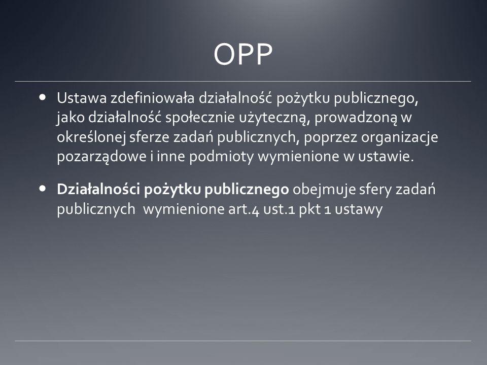 OPP Ustawa zdefiniowała działalność pożytku publicznego, jako działalność społecznie użyteczną, prowadzoną w określonej sferze zadań publicznych, popr