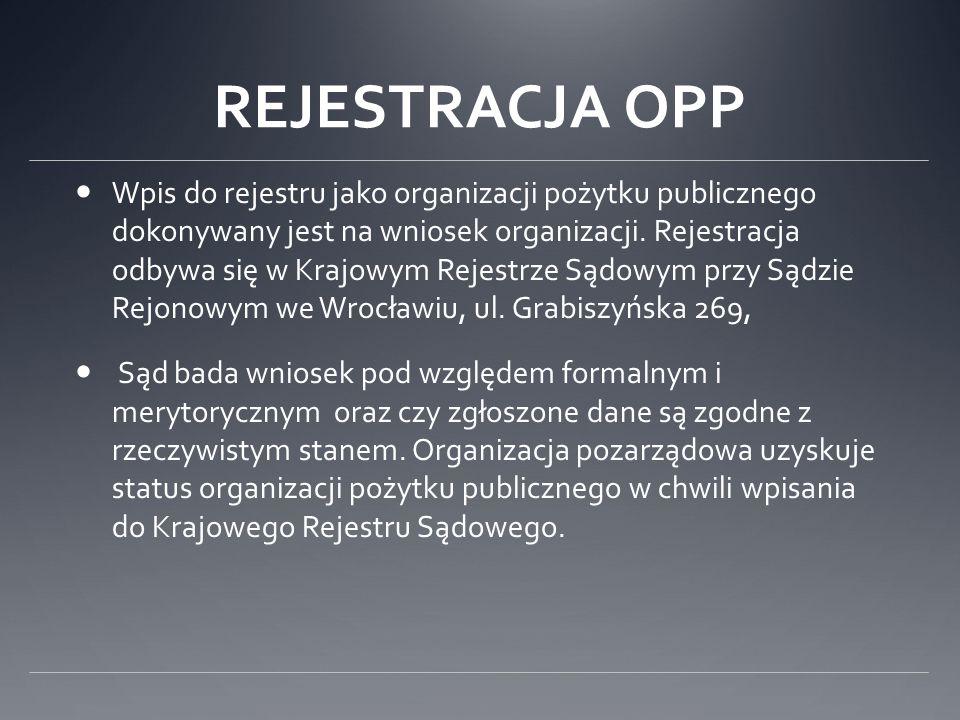 REJESTRACJA OPP Wpis do rejestru jako organizacji pożytku publicznego dokonywany jest na wniosek organizacji. Rejestracja odbywa się w Krajowym Rejest