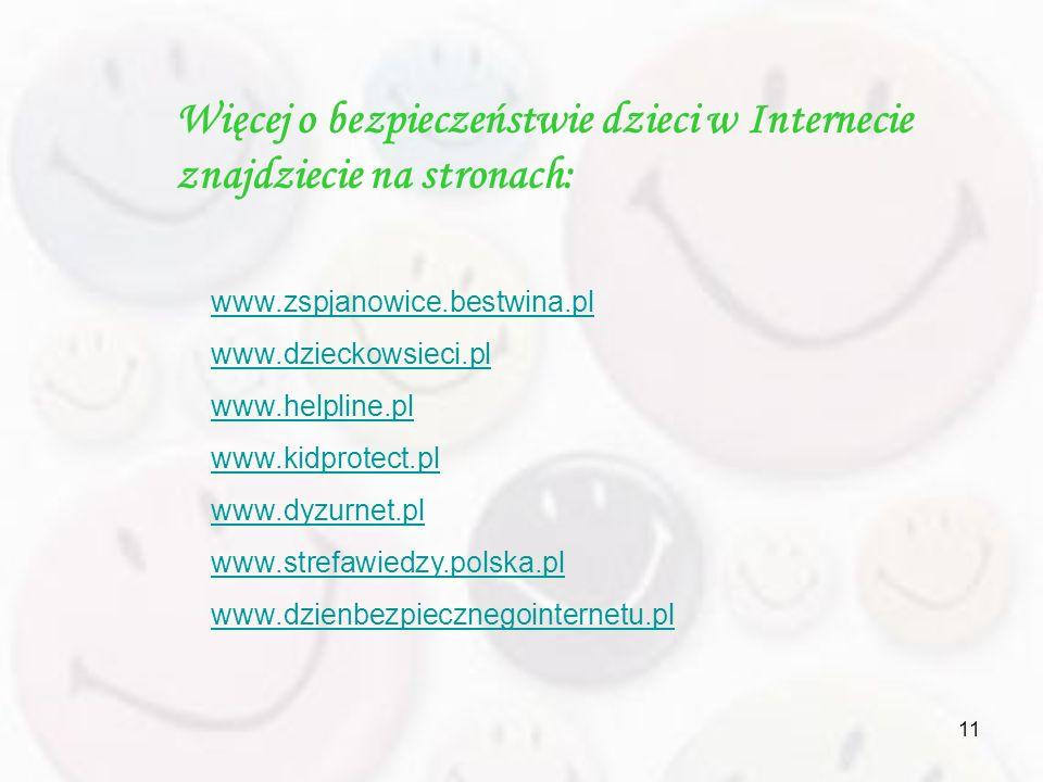 11 Więcej o bezpieczeństwie dzieci w Internecie znajdziecie na stronach: www.zspjanowice.bestwina.pl www.dzieckowsieci.pl www.helpline.pl www.kidprote