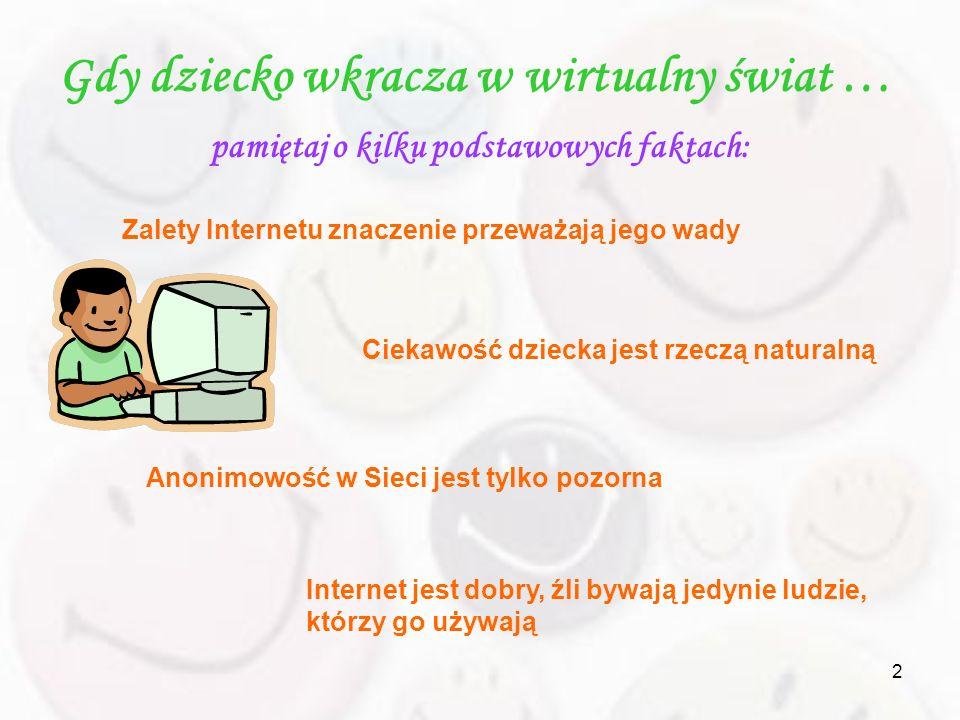 2 Gdy dziecko wkracza w wirtualny świat … pamiętaj o kilku podstawowych faktach: Zalety Internetu znaczenie przeważają jego wady Ciekawość dziecka jes