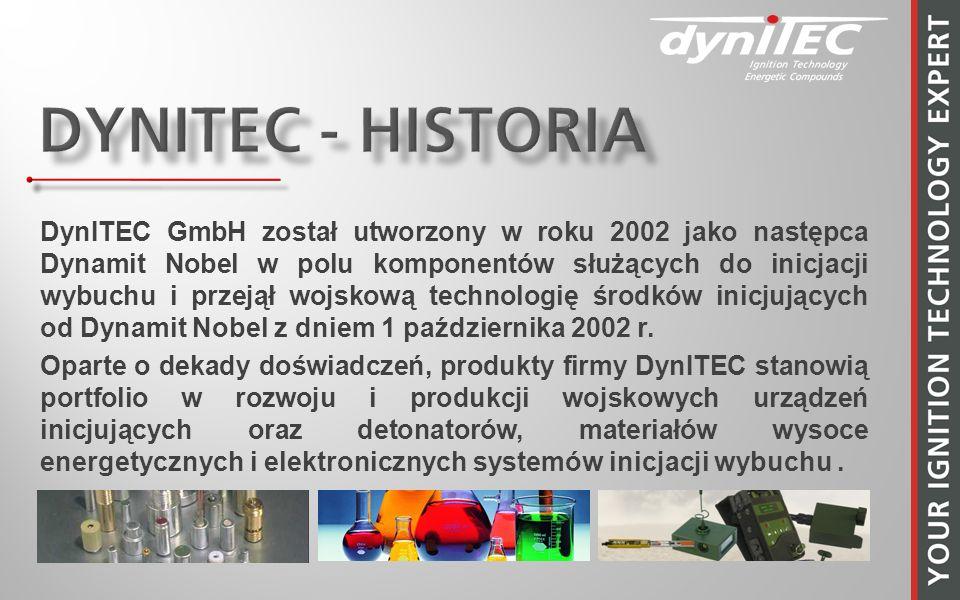 DynITEC GmbH został utworzony w roku 2002 jako następca Dynamit Nobel w polu komponentów służących do inicjacji wybuchu i przejął wojskową technologię