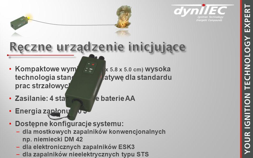 Kompaktowe wymiary (15.5 x 5.8 x 5.0 cm) wysoka technologia stanowi alternatywę dla standardu prac strzałowych Zasilanie: 4 standardowe baterie AA Energia zapłonu: 10 J Dostępne konfiguracje systemu: –dla mostkowych zapalników konwencjonalnych np.
