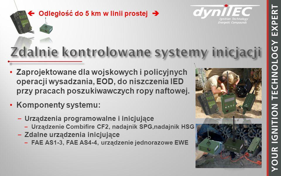 Zaprojektowane dla wojskowych i policyjnych operacji wysadzania, EOD, do niszczenia IED przy pracach poszukiwawczych ropy naftowej. Komponenty systemu