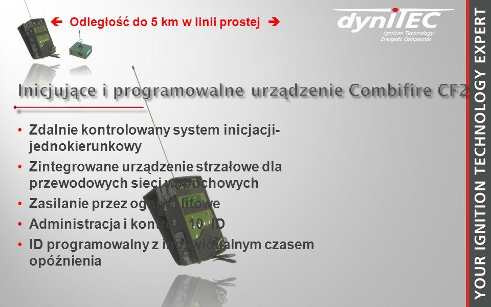 Zdalnie kontrolowany system inicjacji- jednokierunkowy Zintegrowane urządzenie strzałowe dla przewodowych sieci wybuchowych Zasilanie przez ogniwa litowe Administracja i kontrola 10 ID ID programowalny z indywidualnym czasem opóźnienia