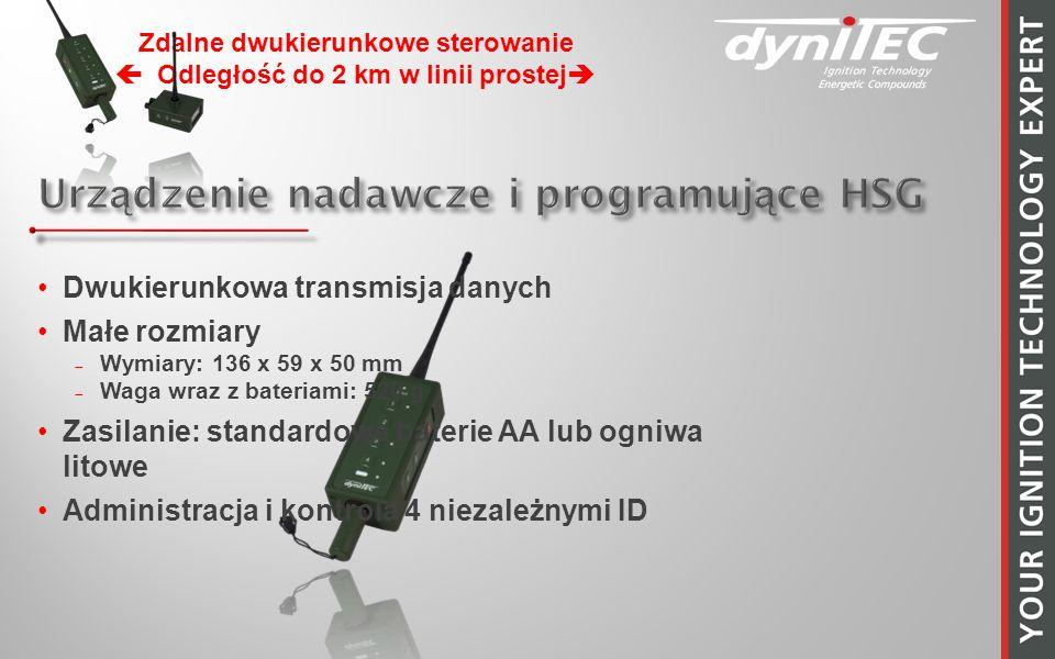 Zdalne dwukierunkowe sterowanie Odległość do 2 km w linii prostej Dwukierunkowa transmisja danych Małe rozmiary Wymiary: 136 x 59 x 50 mm Waga wraz z