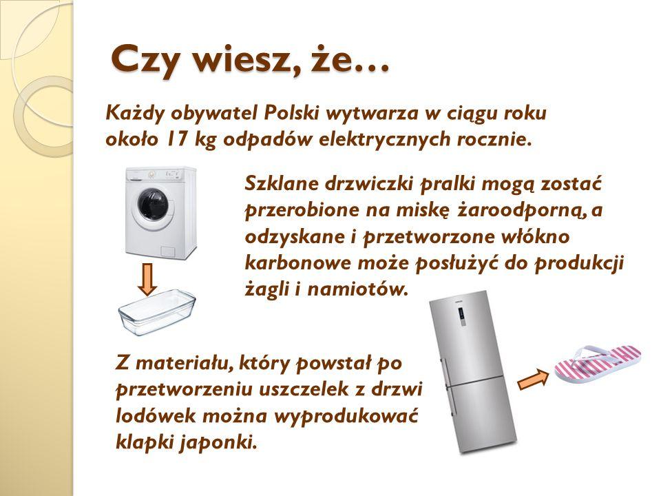 Czy wiesz, że… Każdy obywatel Polski wytwarza w ciągu roku około 17 kg odpadów elektrycznych rocznie.