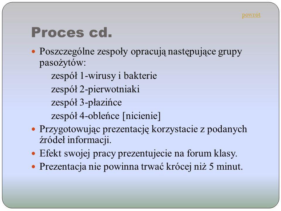 Proces cd. Poszczególne zespoły opracują następujące grupy pasożytów: zespół 1-wirusy i bakterie zespół 2-pierwotniaki zespół 3-płazińce zespół 4-oble