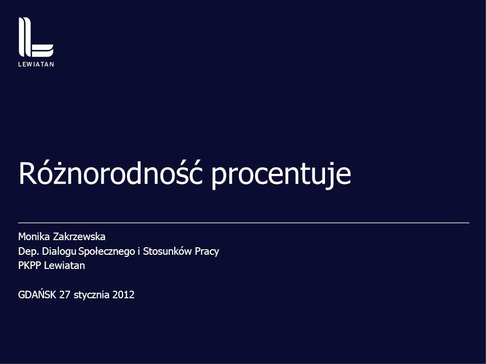 Różnorodność procentuje Monika Zakrzewska Dep. Dialogu Społecznego i Stosunków Pracy PKPP Lewiatan GDAŃSK 27 stycznia 2012
