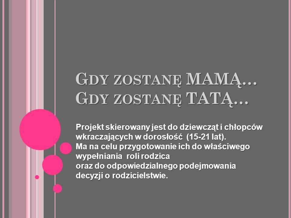 G DY ZOSTANĘ MAMĄ… G DY ZOSTANĘ TATĄ… Projekt skierowany jest do dziewcząt i chłopców wkraczających w dorosłość (15-21 lat). Ma na celu przygotowanie