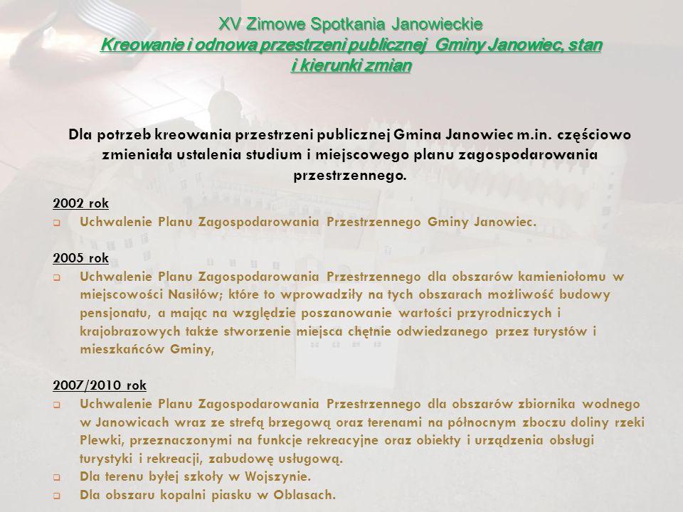 Dla potrzeb kreowania przestrzeni publicznej Gmina Janowiec m.in. częściowo zmieniała ustalenia studium i miejscowego planu zagospodarowania przestrze