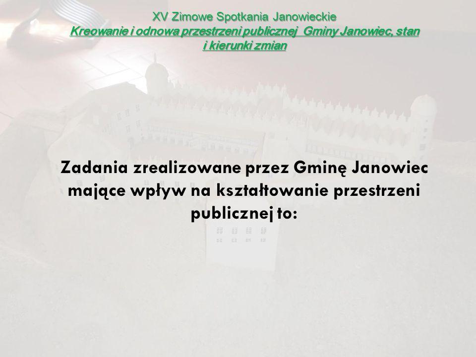XV Zimowe Spotkania Janowieckie Kreowanie i odnowa przestrzeni publicznej Gminy Janowiec, stan i kierunki zmian Zadania zrealizowane przez Gminę Janow