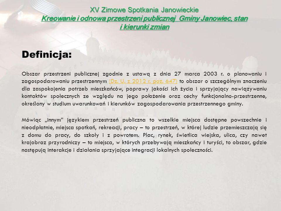 XV Zimowe Spotkania Janowieckie Kreowanie i odnowa przestrzeni publicznej Gminy Janowiec, stan i kierunki zmian Kompleksowe zagospodarowanie Rynku i ul.