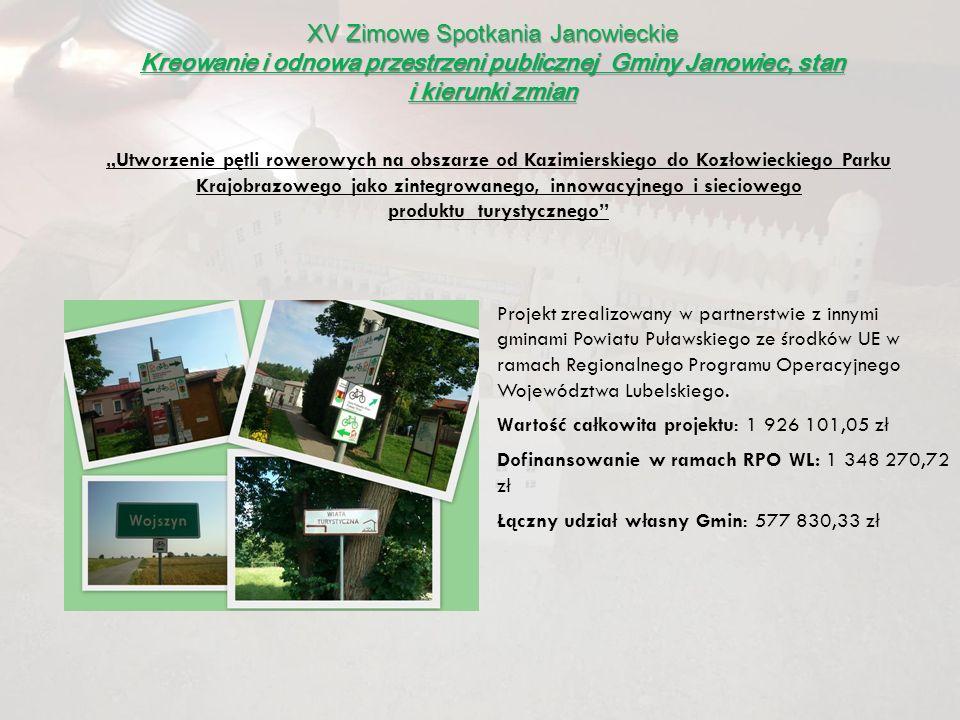 XV Zimowe Spotkania Janowieckie Kreowanie i odnowa przestrzeni publicznej Gminy Janowiec, stan i kierunki zmian Projekt zrealizowany w partnerstwie z