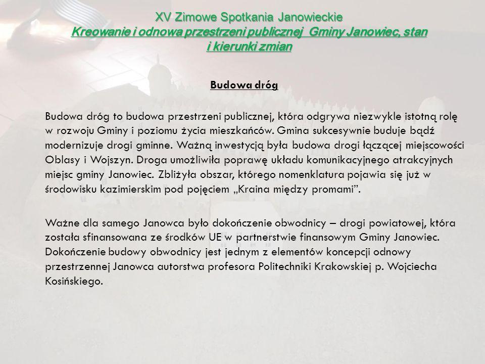 XV Zimowe Spotkania Janowieckie Kreowanie i odnowa przestrzeni publicznej Gminy Janowiec, stan i kierunki zmian Budowa dróg to budowa przestrzeni publ