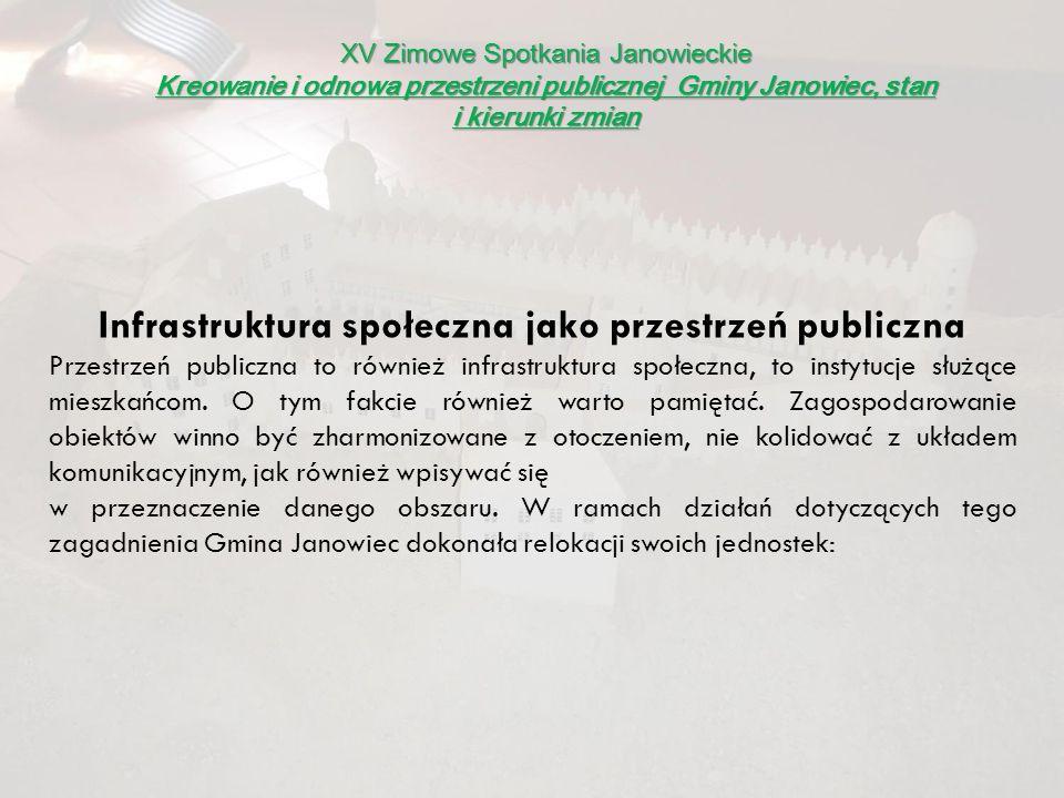 XV Zimowe Spotkania Janowieckie Kreowanie i odnowa przestrzeni publicznej Gminy Janowiec, stan i kierunki zmian Infrastruktura społeczna jako przestrz