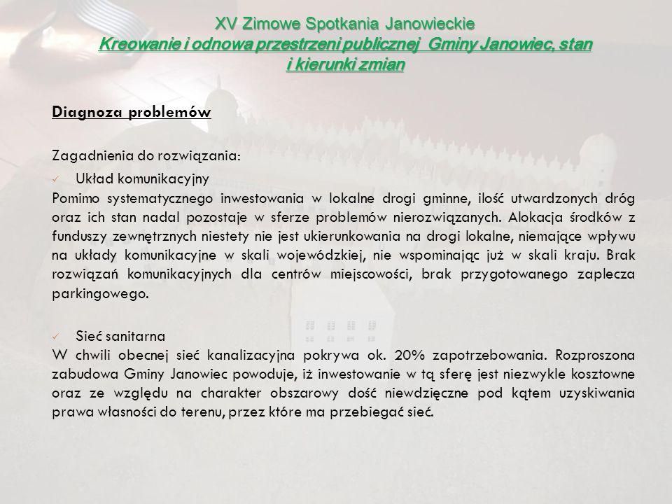 XV Zimowe Spotkania Janowieckie Kreowanie i odnowa przestrzeni publicznej Gminy Janowiec, stan i kierunki zmian Diagnoza problemów Zagadnienia do rozw
