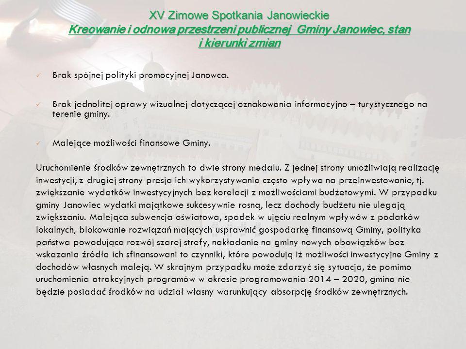 Brak spójnej polityki promocyjnej Janowca. Brak jednolitej oprawy wizualnej dotyczącej oznakowania informacyjno – turystycznego na terenie gminy. Male