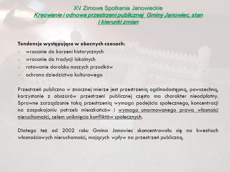 XV Zimowe Spotkania Janowieckie Kreowanie i odnowa przestrzeni publicznej Gminy Janowiec, stan i kierunki zmian DZIĘKUJĘ ZA UWAGĘ