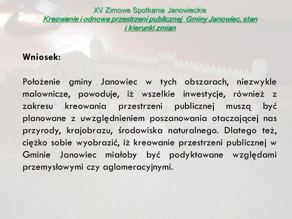 XV Zimowe Spotkania Janowieckie Kreowanie i odnowa przestrzeni publicznej Gminy Janowiec, stan i kierunki zmian Plany, wizje, kierunki zmian