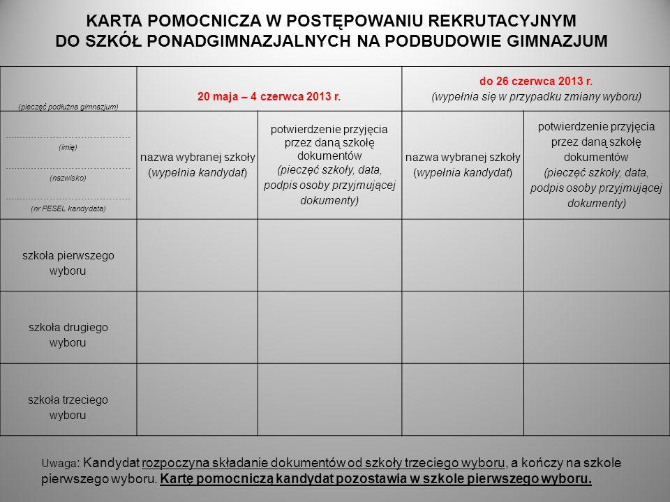 (pieczęć podłużna gimnazjum) 20 maja – 4 czerwca 2013 r. do 26 czerwca 2013 r. (wypełnia się w przypadku zmiany wyboru)...............................