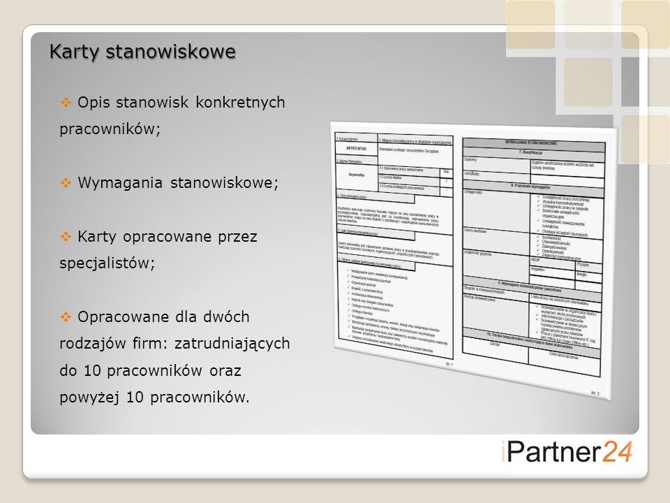 Karty stanowiskowe Opis stanowisk konkretnych pracowników; Wymagania stanowiskowe; Karty opracowane przez specjalistów; Opracowane dla dwóch rodzajów