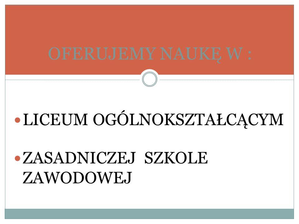 Liceum Ogólnokształcące Klasa o profilu Bezpieczeństwo publiczne Przedmioty realizowane w zakresie rozszerzonym: język polski, historia, matematyka.