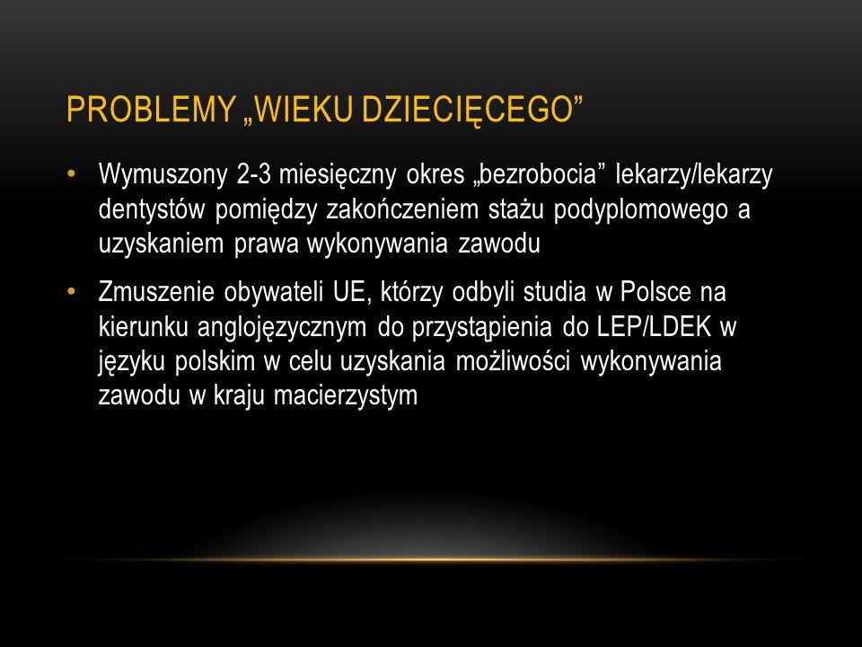 NOWELIZACJA SYSTEMU LEP/LDEP - 2008 Wprowadzenie możliwości przystępowania do egzaminu w trakcie stażu podyplomowego Wprowadzenie możliwości organizowania LEP/LDEP w języku angielskim