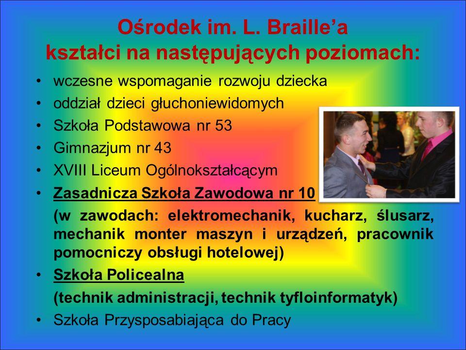 Ośrodek im. L. Braillea kształci na następujących poziomach: wczesne wspomaganie rozwoju dziecka oddział dzieci głuchoniewidomych Szkoła Podstawowa nr
