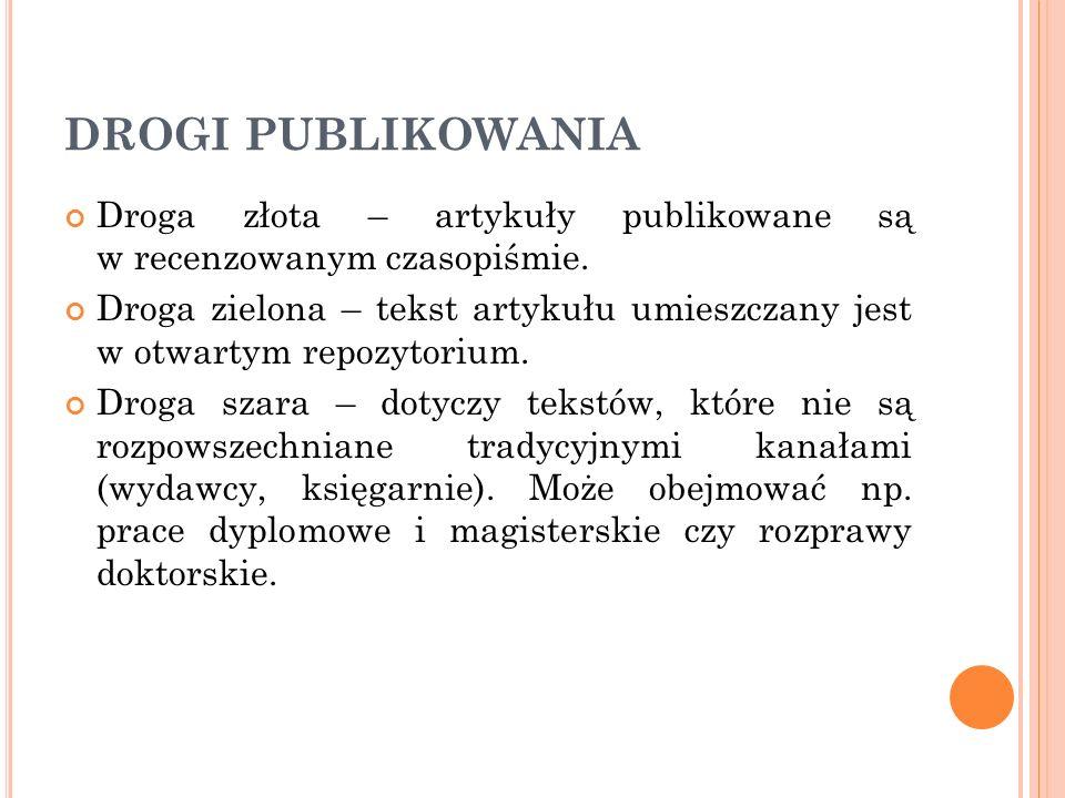 DROGI PUBLIKOWANIA Droga złota – artykuły publikowane są w recenzowanym czasopiśmie.