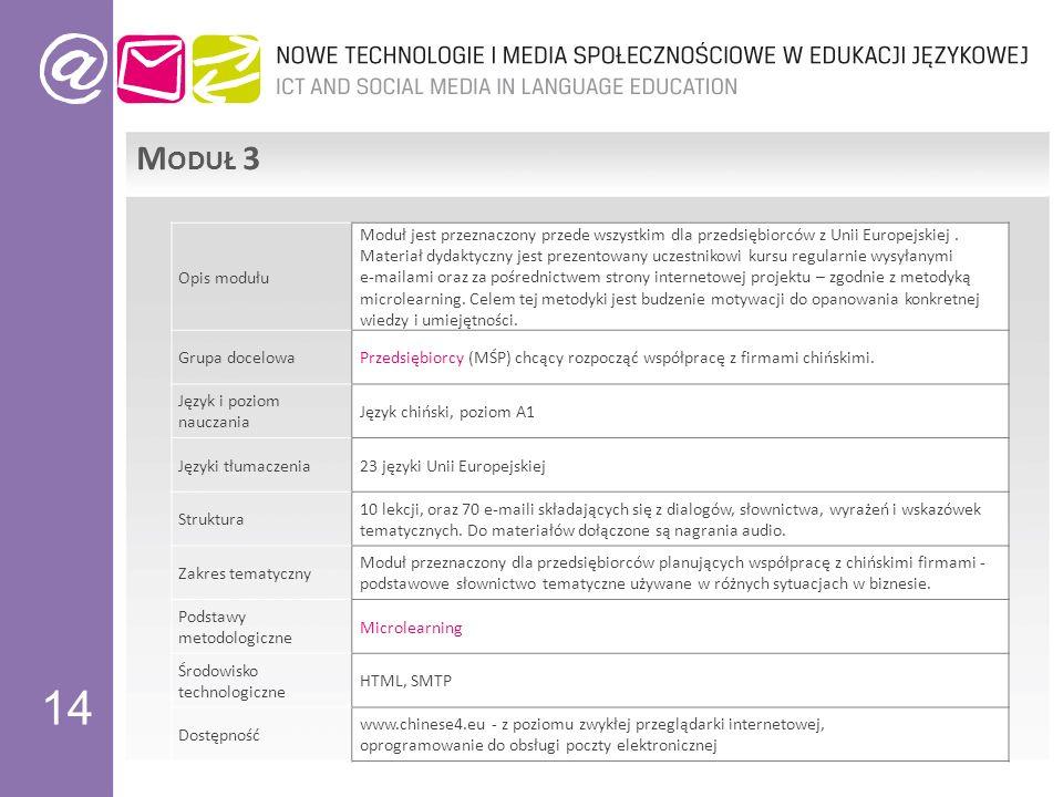 14 M ODUŁ 3 Opis modułu Moduł jest przeznaczony przede wszystkim dla przedsiębiorców z Unii Europejskiej.