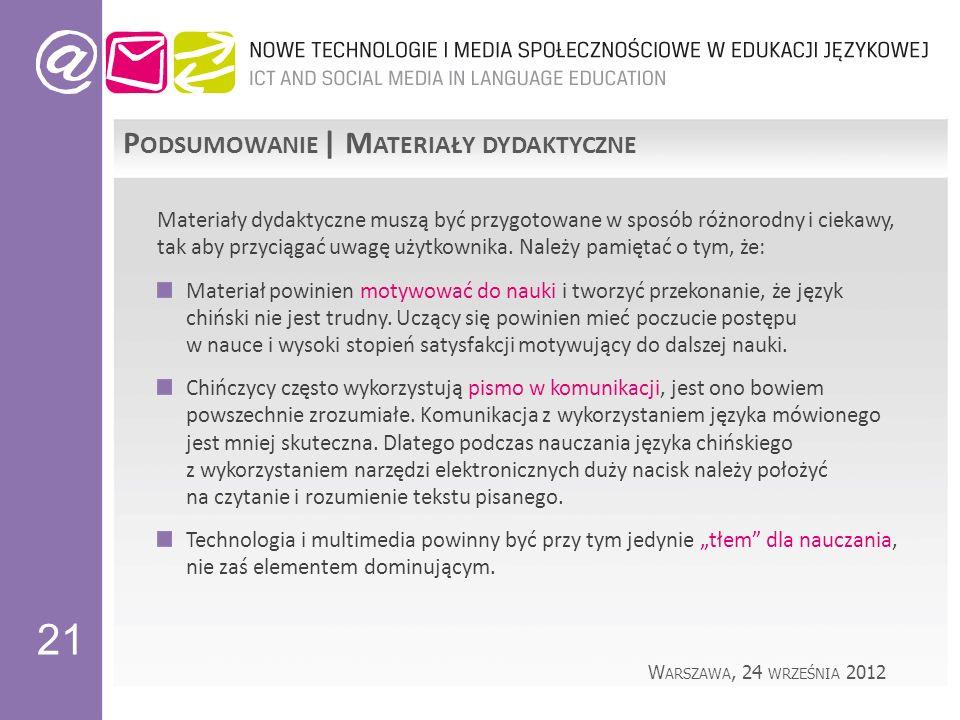 21 P ODSUMOWANIE | M ATERIAŁY DYDAKTYCZNE Materiały dydaktyczne muszą być przygotowane w sposób różnorodny i ciekawy, tak aby przyciągać uwagę użytkownika.