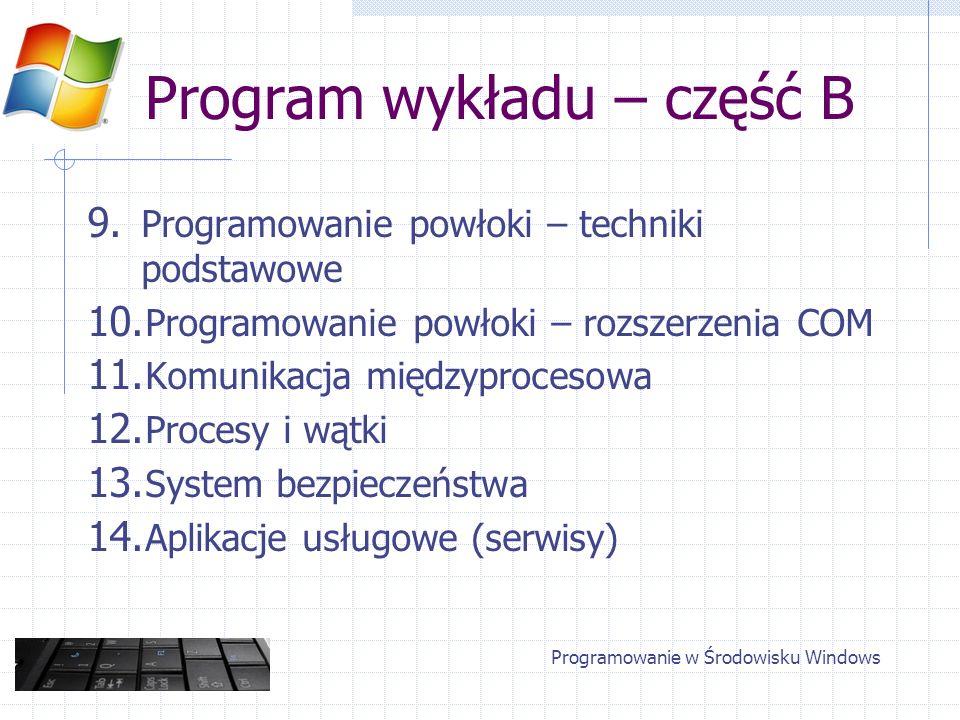 Programowanie w Środowisku Windows Program wykładu – część B 9. Programowanie powłoki – techniki podstawowe 10. Programowanie powłoki – rozszerzenia C