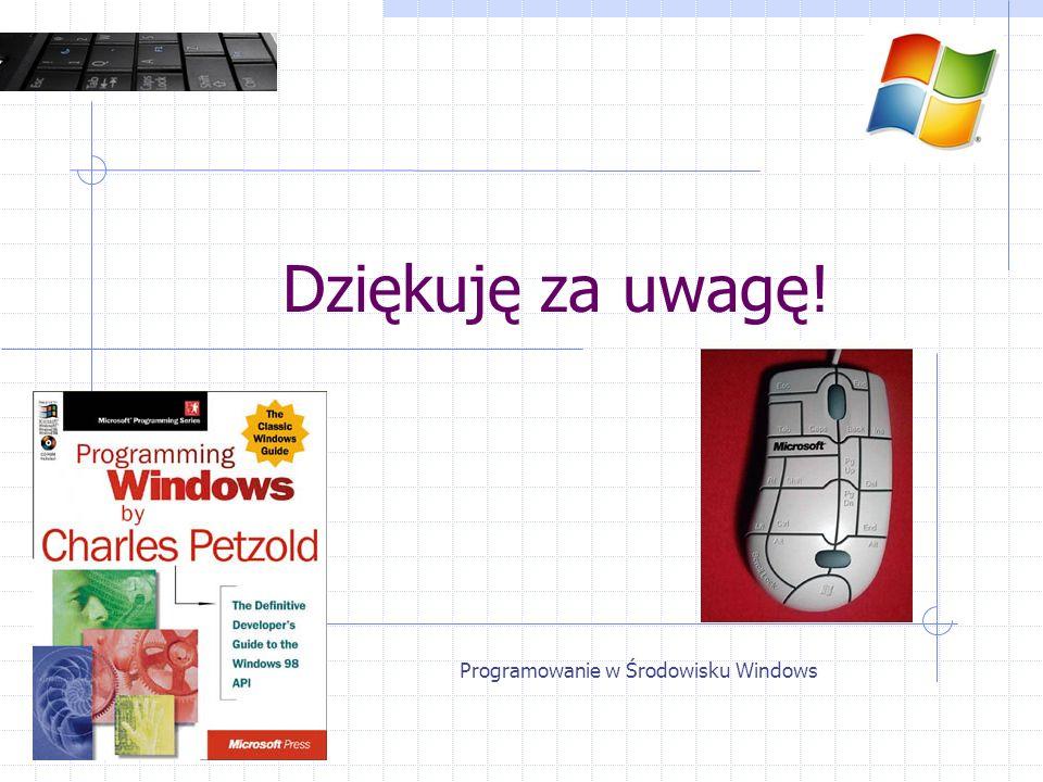 Programowanie w Środowisku Windows Dziękuję za uwagę!