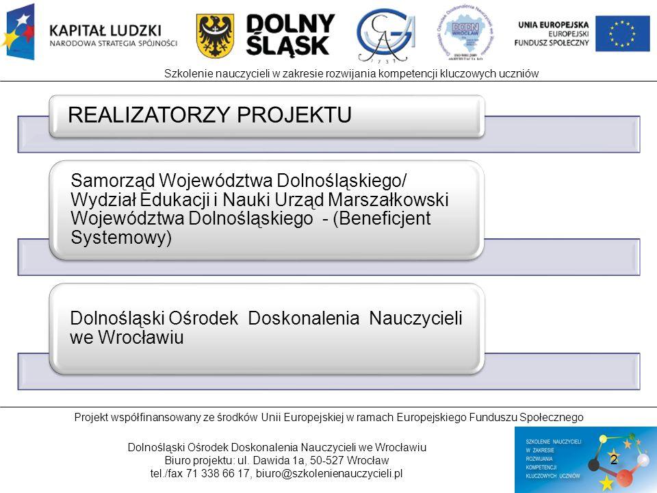 Projekt współfinansowany ze środków Unii Europejskiej w ramach Europejskiego Funduszu Społecznego Dolnośląski Ośrodek Doskonalenia Nauczycieli we Wroc