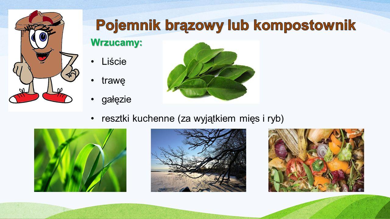 Wrzucamy: Liście trawę gałęzie resztki kuchenne (za wyjątkiem mięs i ryb)