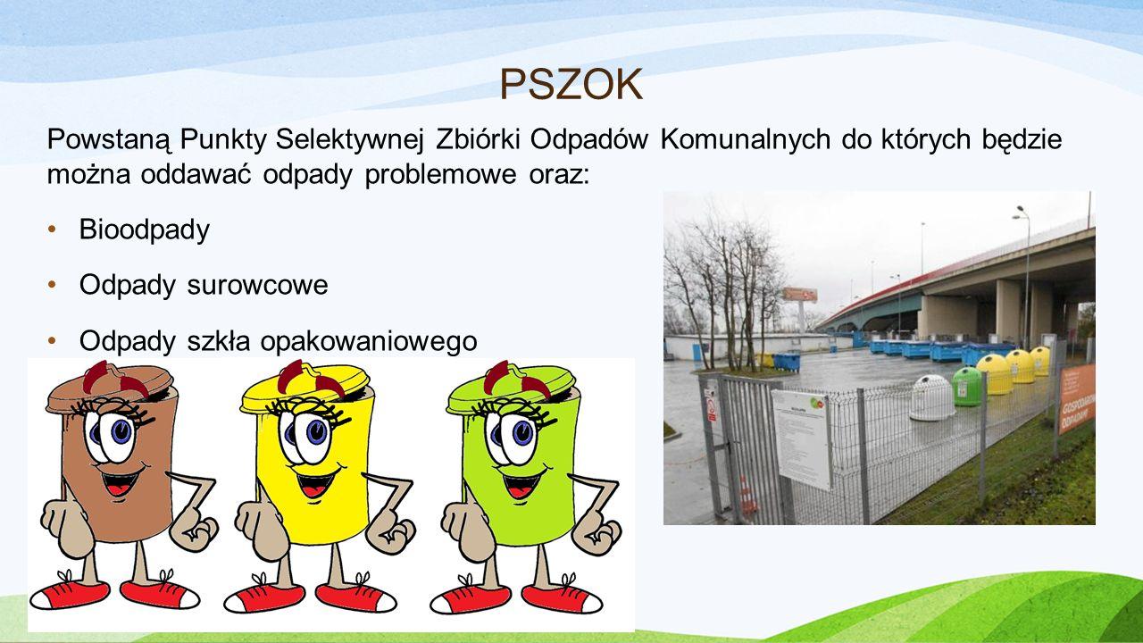 PSZOK Powstaną Punkty Selektywnej Zbiórki Odpadów Komunalnych do których będzie można oddawać odpady problemowe oraz: Bioodpady Odpady surowcowe Odpad
