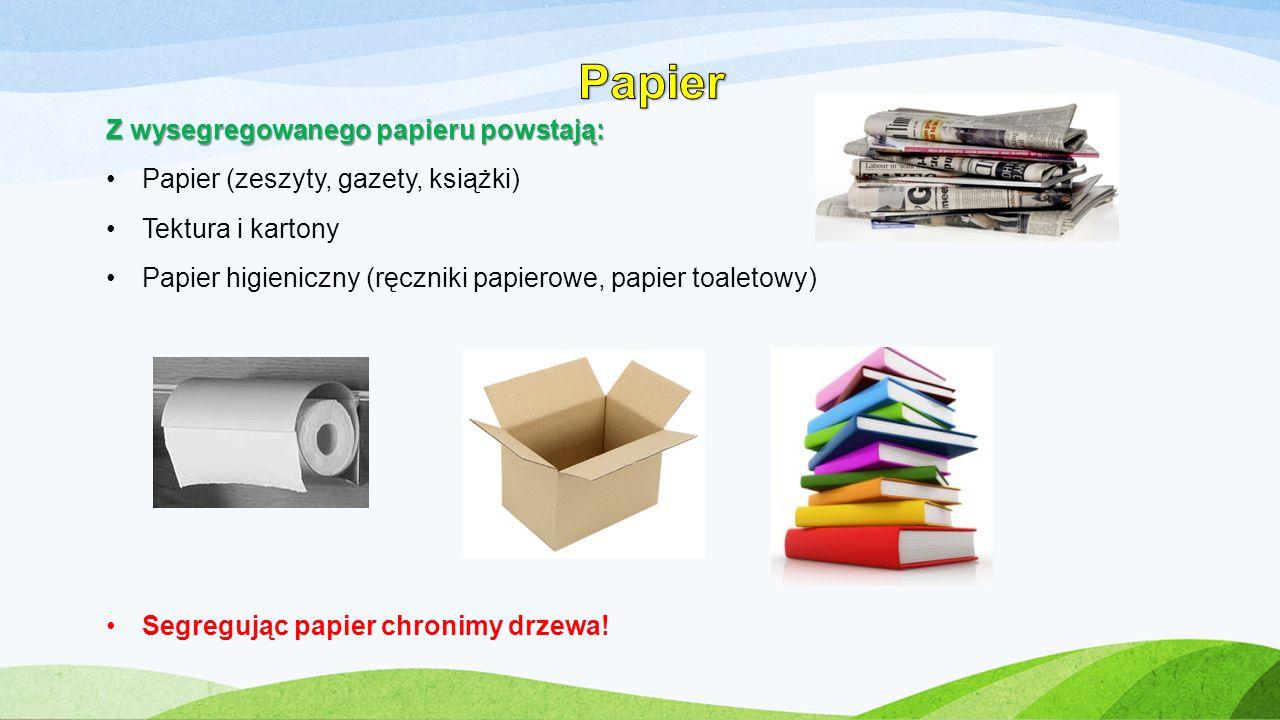 Z wysegregowanego papieru powstają: Papier (zeszyty, gazety, książki) Tektura i kartony Papier higieniczny (ręczniki papierowe, papier toaletowy) Segr