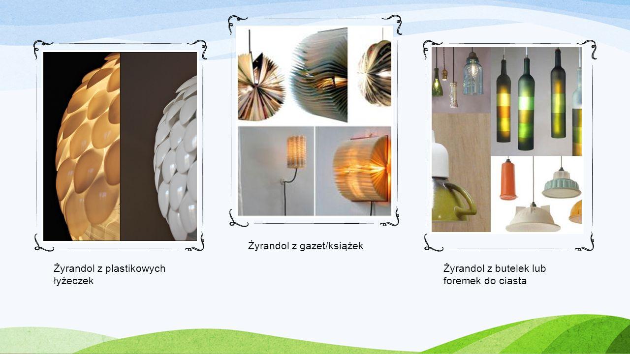 Żyrandol z plastikowych łyżeczek Żyrandol z gazet/książek Żyrandol z butelek lub foremek do ciasta