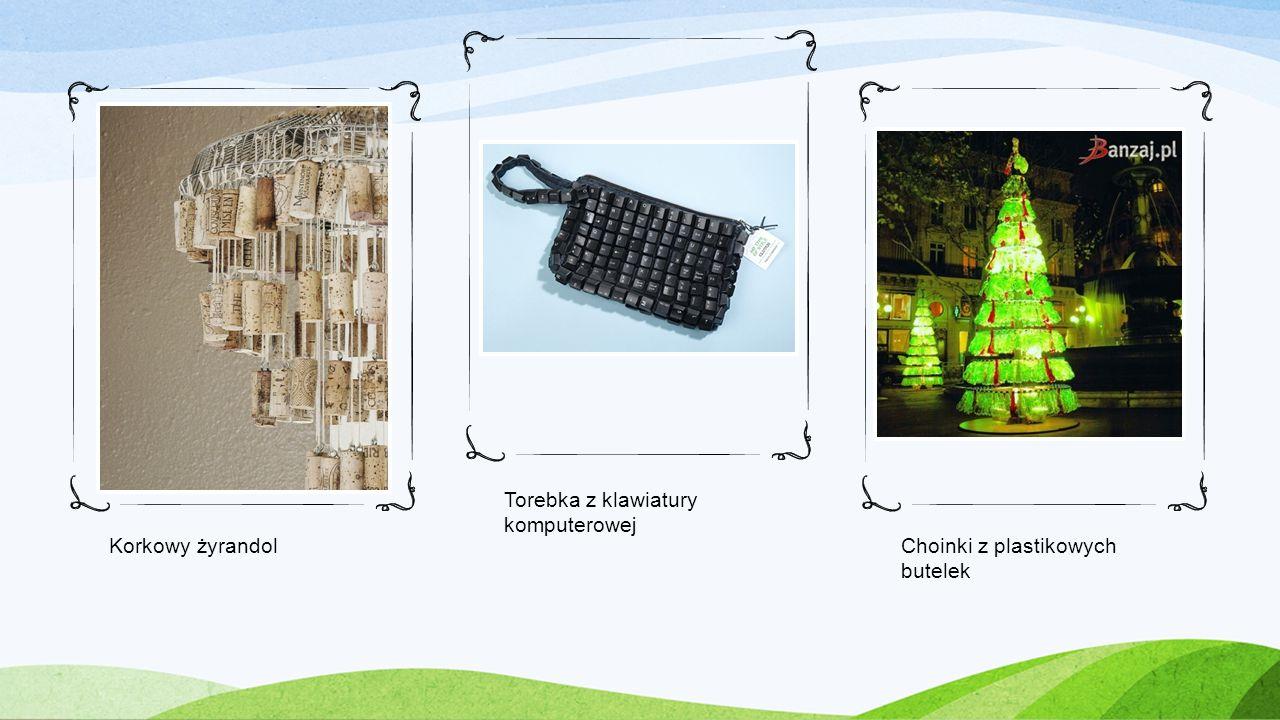 Korkowy żyrandol Torebka z klawiatury komputerowej Choinki z plastikowych butelek