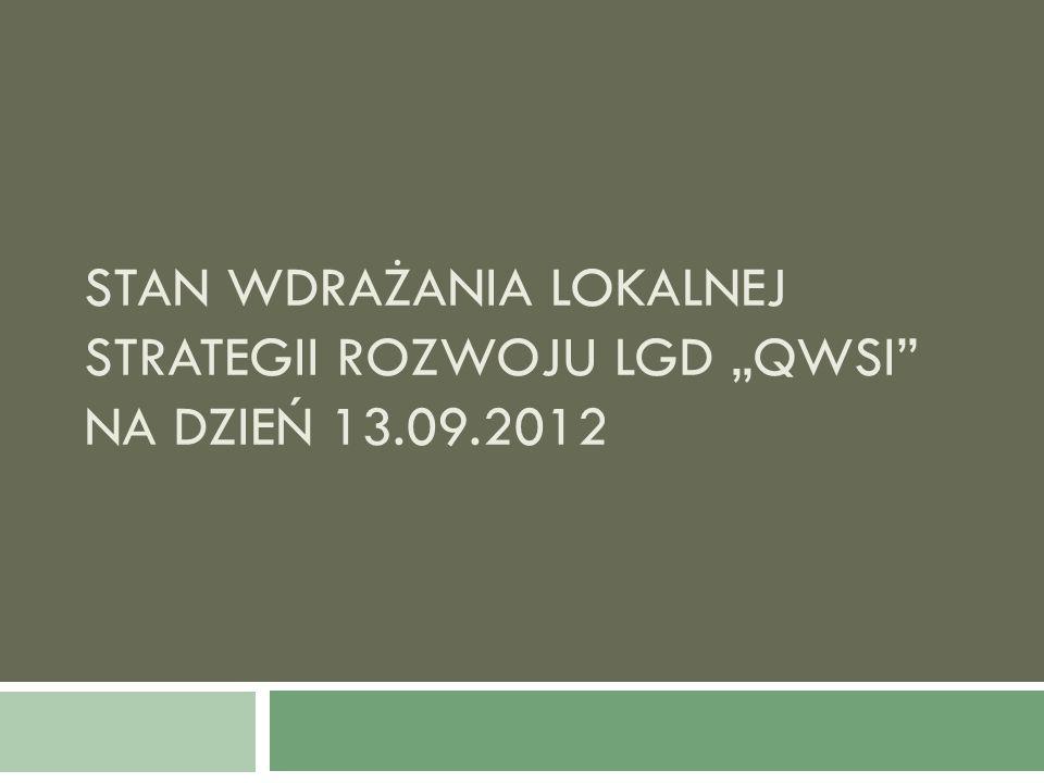 STAN WDRAŻANIA LOKALNEJ STRATEGII ROZWOJU LGD QWSI NA DZIEŃ 13.09.2012