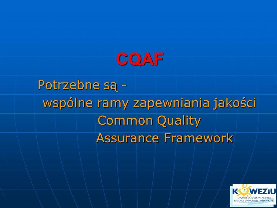 CQAF Potrzebne są - wspólne ramy zapewniania jakości Common Quality Assurance Framework Assurance Framework