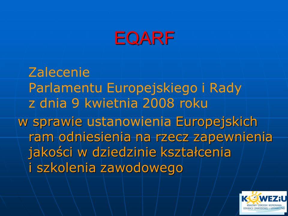 EQARF Zalecenie Parlamentu Europejskiego i Rady z dnia 9 kwietnia 2008 roku w sprawie Europejskich ram odniesienia na rzecz zapewnienia jakości w dziedzinie kształcenia i szkolenia zawodowego w sprawie ustanowienia Europejskich ram odniesienia na rzecz zapewnienia jakości w dziedzinie kształcenia i szkolenia zawodowego